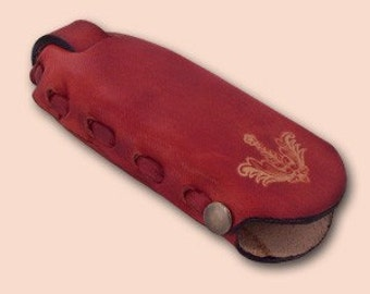 Leather key case Sima red Edit Title