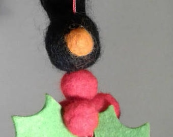 Wee blackbird & holly