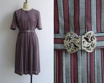 Vintage 80's 'Military' Maroon & Grey Striped Pleated Dress with Belt S or M