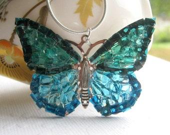 Butterfly Jewelry, Blue Butterfly Necklace, Glass Butterfly, Big Butterfly Necklace