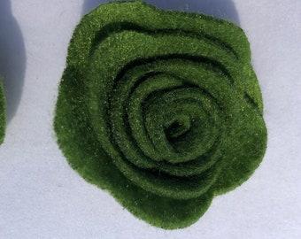 Green Felt Flower, Felt Flowers, Flower Crown, Flower Headband, Flower Hair Clip, DIY Flowers