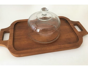 Vintage 1970's teak wood tray with glass dome
