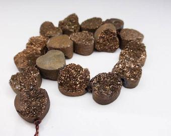 1 x Bronze Druzy Quartz Heart Bead Approx. 12mm, Craft Supplies, Beads, Gemstones, UK Seller (GB1001)