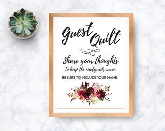 PRINTABLE Guest Quilt, wedding guest quilt wedding quilt, signature quilt, guestbook quilt, guest book quilt, Wedding Sign-pink floral