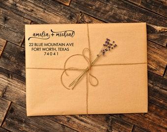 Couple Customized Address Stamp, Calligraphy Personalized Return Address Stamp - 3J