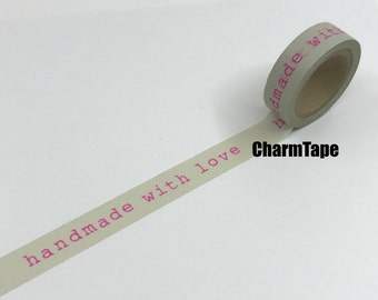 Washi tape - neon pink Handmade with Love - 15mm x 10m WT424