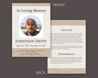Funeral Program Template - Funeral Card - Photoshop PSD *INSTANT DOWNLOAD*