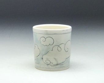 Handmade tumbler, porcelain tumbler, ceramic tumbler, whiskey cup, water color clouds, small cup, ceramic cup, blue and white, porcelain cup