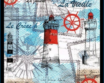 Lighthouse Paper Decoupage Napkins - Use For Crafts, Mixed Media, Scrapbooking, Collage And Altered Art Projects