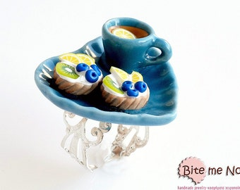 Food Jewelry Tarts and Lemon Tea Ring, Mini Fruit Tarts Ring, Tea Cup Ring, Mini Food, Kawaii Jewelry, Fruit Jewelry