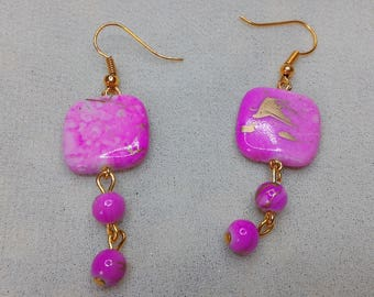 Earrings Fuchsia pink flat square beads