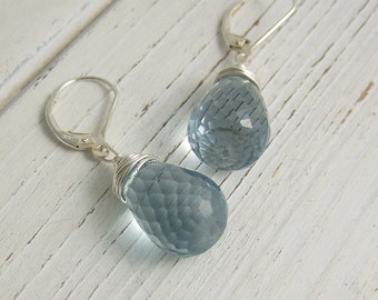 Earrings with Large Blue Glass Teardrops Wire Wrapped with Sterling Silver Wire HE-355