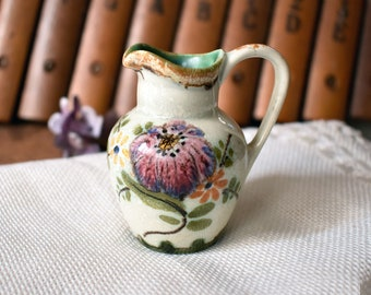 Vintage Miniature Porcelain Creamer Pitcher - Mini Floral Creamer Pitcher