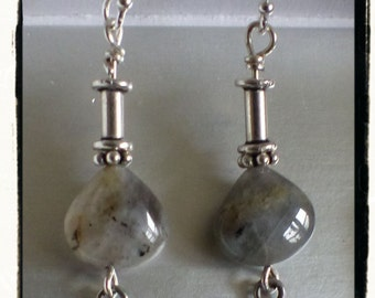 Pretty Labradorite and Sterling Silver Earrings ~ Oxidized ~ Gift Idea ~ Flowers ~ Valentine's ~ Treat Yourself