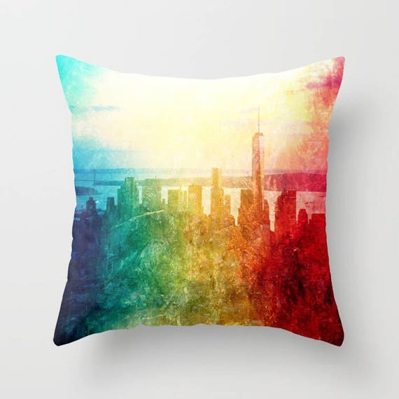 NEW YORK Throw Pillow, 14x14, 16x16, 18x18, 20x20, Skyline Decorative Pillow, Urban Cushion, Wedding Gift, Living Room, Manhattan, Dorm