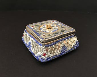 Jeweled Dresser Box, Vanity Box, Gift Box, Ring Box / Vintage Keepsake Box / Gift for Her