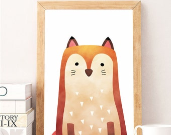 SALE Woodland Fox Decor, Print Fox Baby, Woodland Art Decor, Printable Woodland, Wall Gallery Decor, Nursery Woodland Art, waterc Poster Art