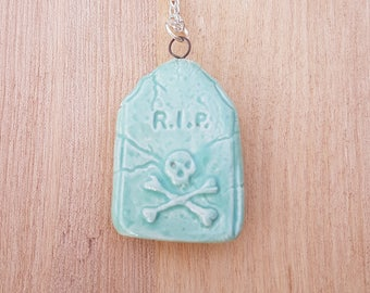 Green tiny tombstone, Goth necklace, Goth gravestone, ceramic pendant, tombstone pendant, gravestone, goth necklace, halloween, RIP necklace