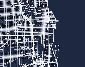 Minimalist Map of Chicago Roads - Digital Download - High Resolution