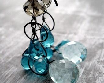 Aqua Rain Teardrop Earrings, Charcoal Oxidized Sterling Silver, Long Aqua Teal Seafoam Faceted Briolette Earrings, Modern Jewelry