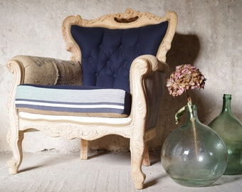 Old fabric Chesterfield Chair wood vintage