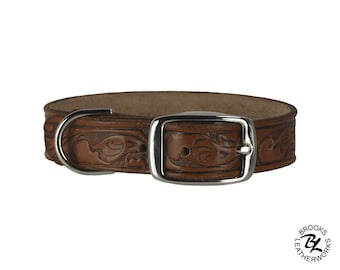 Leather Dog Collar, Embossed Leather Dog Collar, Leather Pet Collar. 1 Inch Wide Embossed Leather Dog Collar