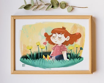 Poster for kids, Girl in the lawn, nursery illustration, kids room art, nursery wall decor, print for baby girl, children poster, Jade