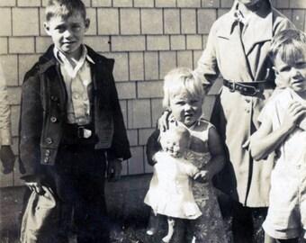 vintage photo 1934 Children girls & boys TOehead Baby in Bellbottom holds Doll