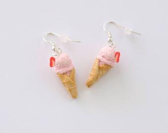 Strawberry Ice Cream Cone Earrings, miniature food jewelry, miniature ice cream cone earrings, strawberry ice cream,food earring,foodie