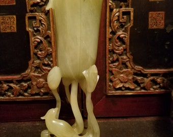 Very Beautiful Chinese Jade Vase With Stand.