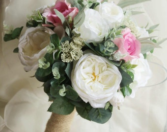 Bride, bridesmaid bouquet, wedding flowers, artificial wedding bouquet.  Roses, lissianthus, peonies, eucalyptus foliage.