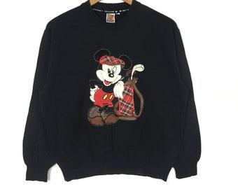 Vintage mickey mouse Sweatshirt Big logo jumper pullover disney cartoon gift black colour Medium size