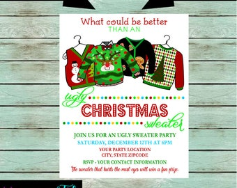 Holiday Christmas Ugly Sweater Party Invitations Invites Office Party Personalized Custom ~ We Print and Mail to You