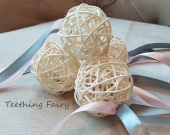 Cat Toy Rattan Ball with Bell and Ribbons