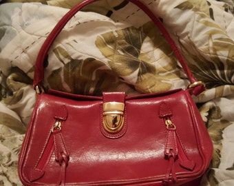 Valentina Genuine Leather Red Purse Handbag With Gold Hardware, Red Tote Handbag with Gold Hardware, Valentina Leather Totes Made in Italy