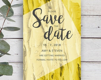 Strata Printable Save the Date Invitation, Gold