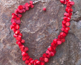 Handcrafted Red Coral Statement Necklace Sterling Silver