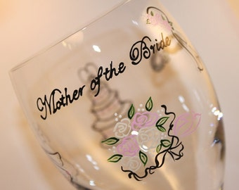 Mother of the Bride Wine Glass, Water Glasses, Iced Tea Goblets, Personalized, Wedding Engagement Shower, Custom, Painted, Champagne, Pink