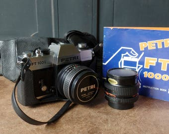 Vintage Camera Petri FT 100, Lens 1:1.8/55, Original book, Cases