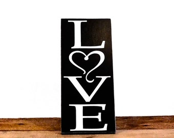 "Love Wall Art Sign, Housewarming Gift For Newlyweds, Natural Wooden Sign Measures 6"" x 12"", Gift Ideas For Boyfriend Or Girlfriend"
