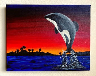Original Maui Dolphin Acrylic Painting - From the Endangered Species Series