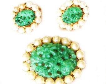 Marvella Brooch with Earrings Demi Parure