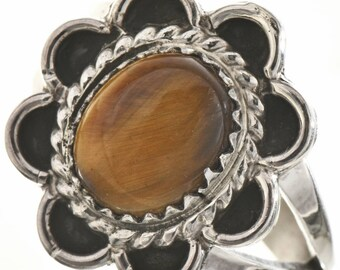 Native Tigers Eye Silver Ladies Ring Southwest Design Any Size
