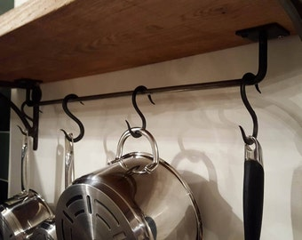 Handmade pot rack with 4 'S' hooks