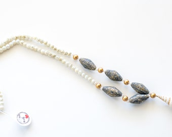 Shell pendant necklace, asymmetric beaded necklace, beach jewelry, paper bead mermaid necklace, conch pendant necklace white & gold necklace