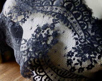 BLACK Chantilly Lace Wider for Bridal, Shawls, Gowns, Lingerie CH 3bl