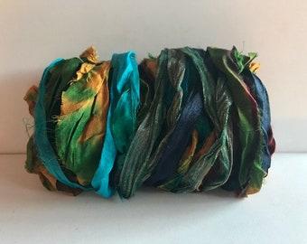 Silk Sari Ribbon-Tye Dye Sari Ribbon-10 Yards
