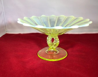 Vintage-Vaseline-Opalescent-Glass-Candy Dish-Pedestal-Yellow-Green-White-Home Decor-Glassware