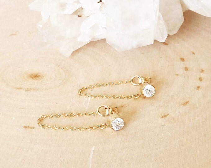 Featured listing image: CZ diamond look gold stud earring with chain detail. Simple. Everyday. Minimalist. Fancy. Must have. valentine's gift.
