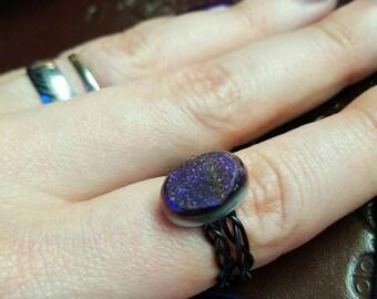 Titanium aura quartz druzy ring
